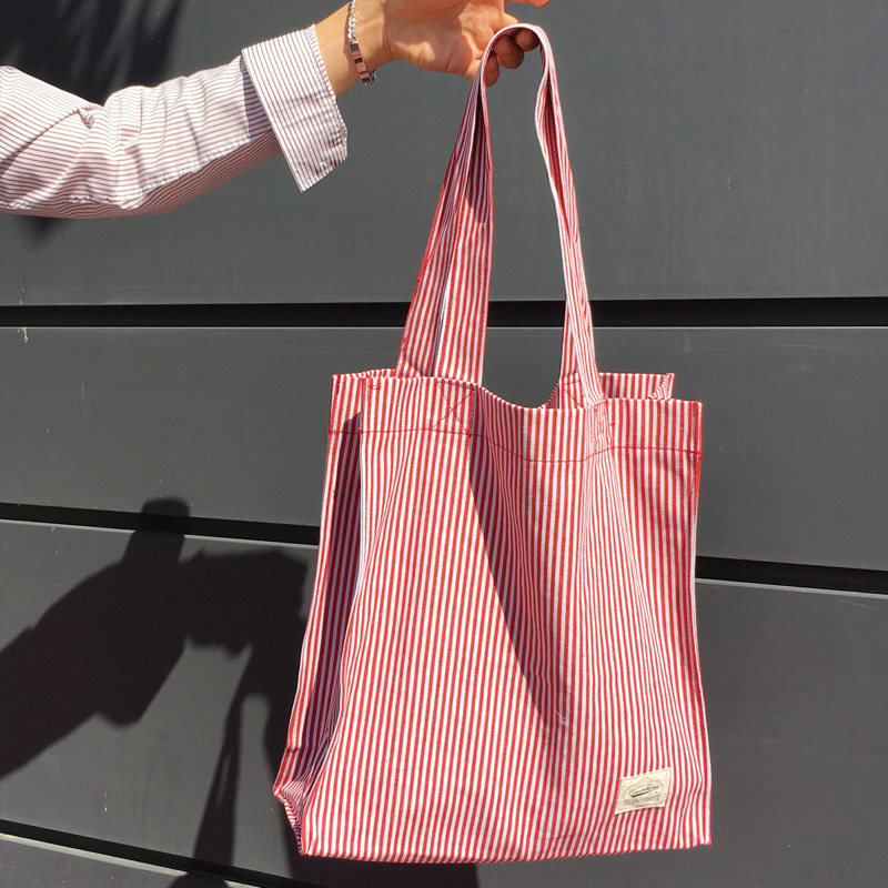 Red & White Stripe Eco Bag_BB07