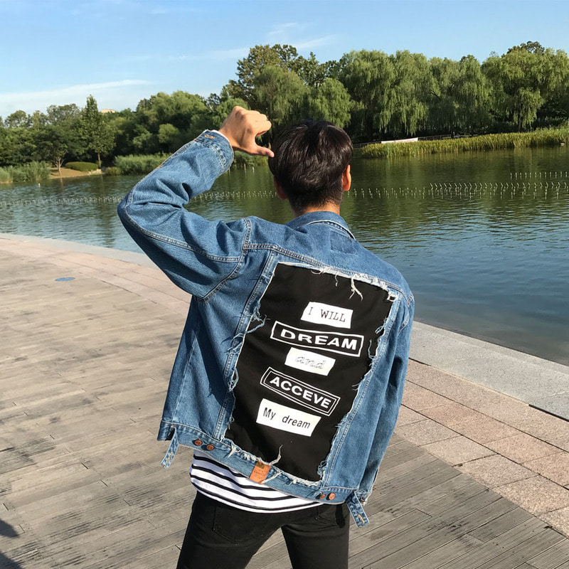 MSQ 1236 Back Printing Denim Jacket_O378