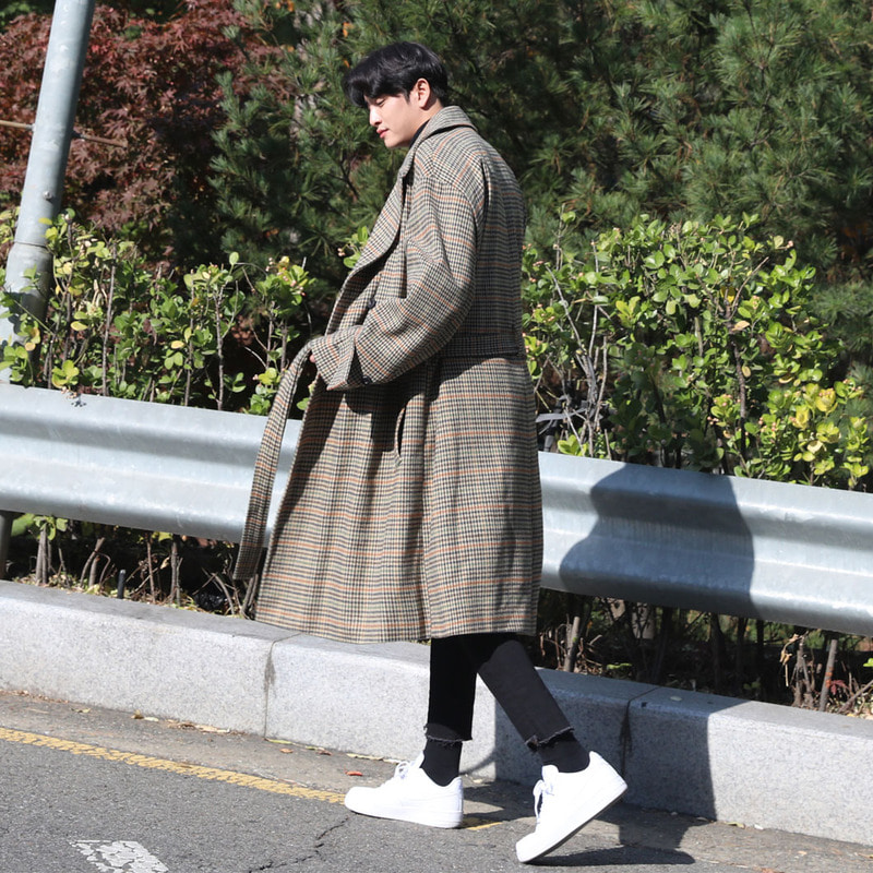 BL Check Over Double Coat_O499 ( BEIGE )