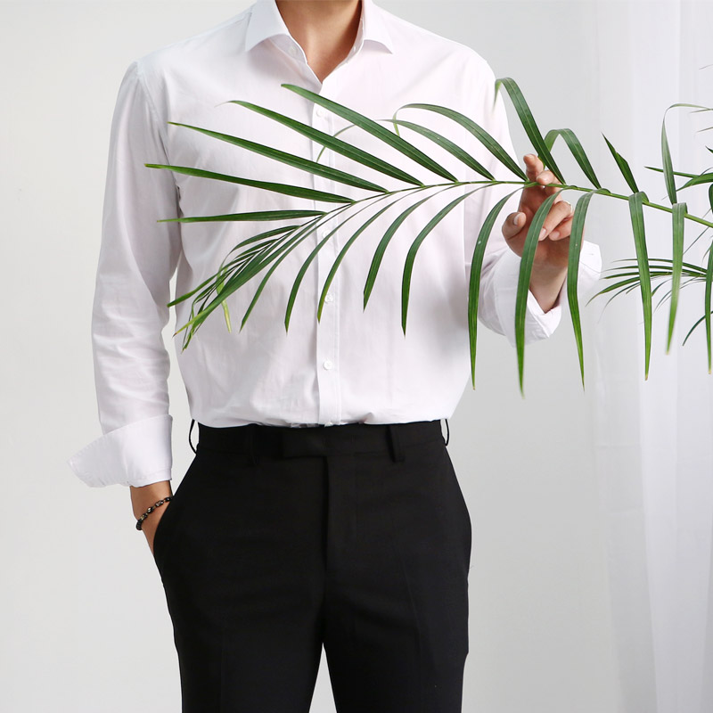 White Basic Dress Shirts_T226