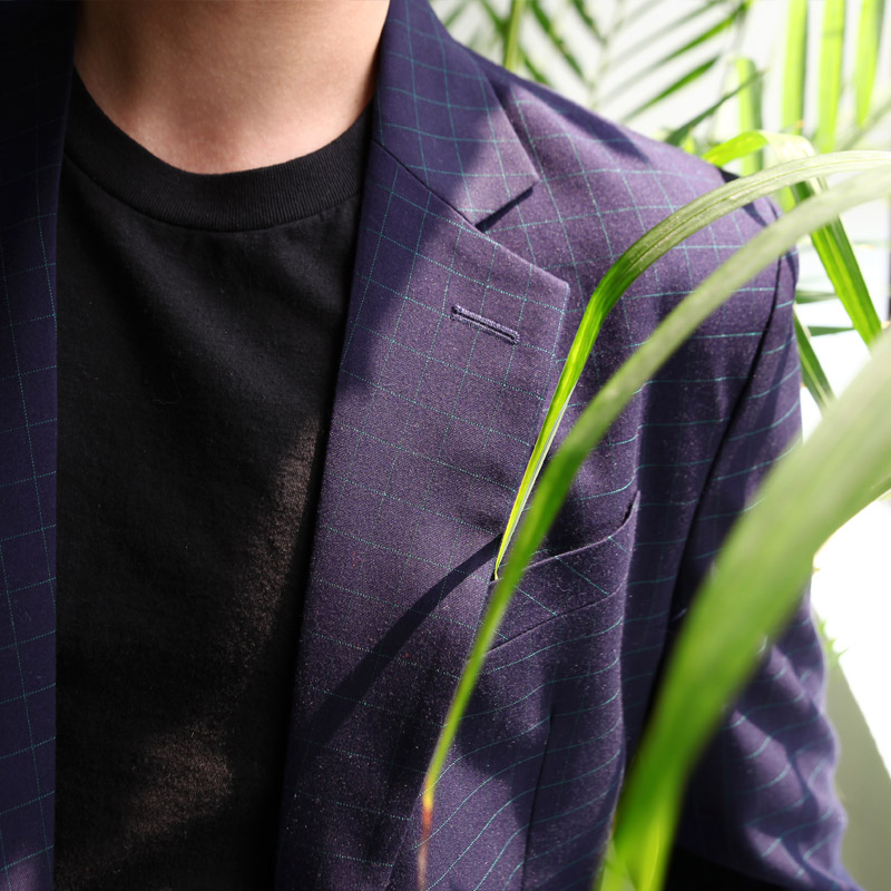 Purple Windowpane Check Casual Suit_SU057