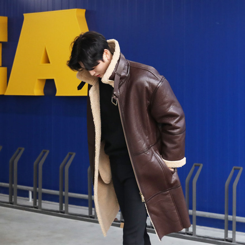 WD Long Mustang Coat_O523 ( BROWN )