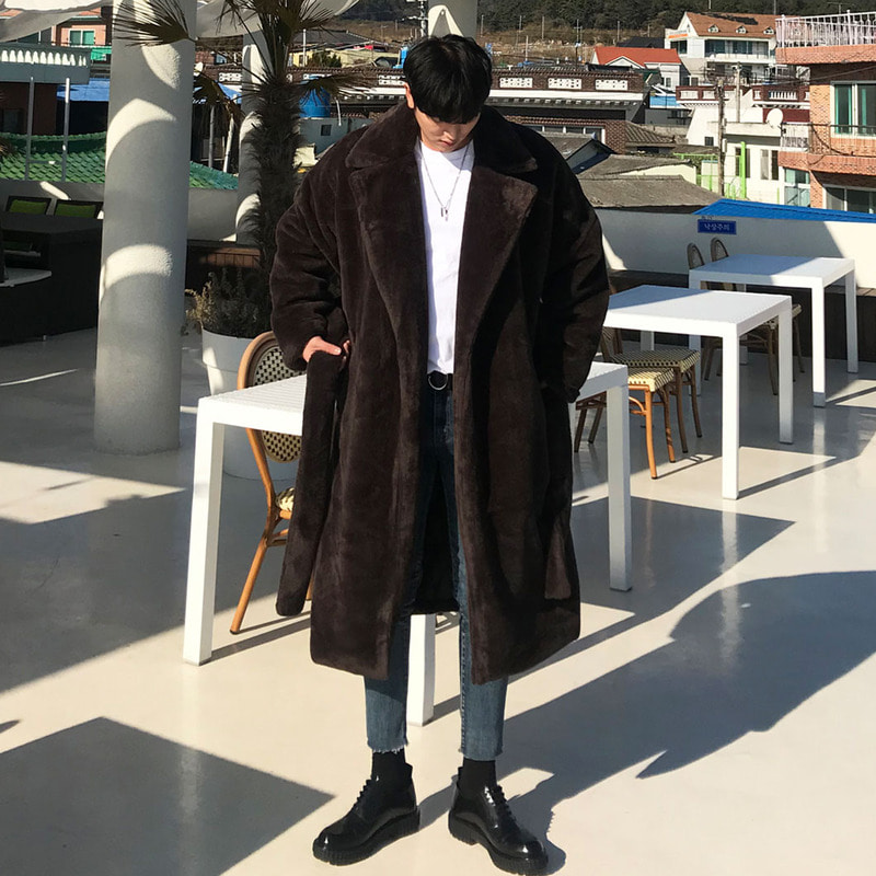 AD Mink Fur Over Long Coat_O563 ( BROWN )