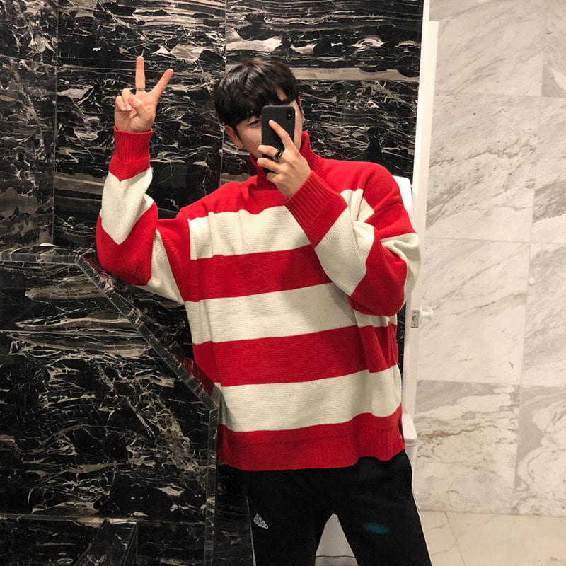 SFS Over Classic Stripe Turtle Neck Knit_T1011 ( 3 Colors )