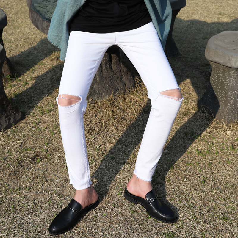 YB 5467 White Demage Jeans_B511