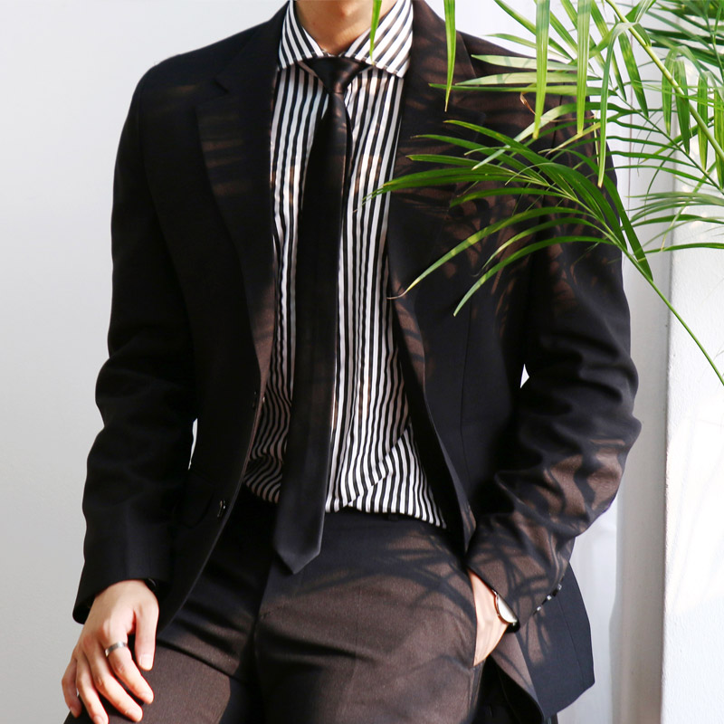 Black FL Stripe Dress Shirts_T228