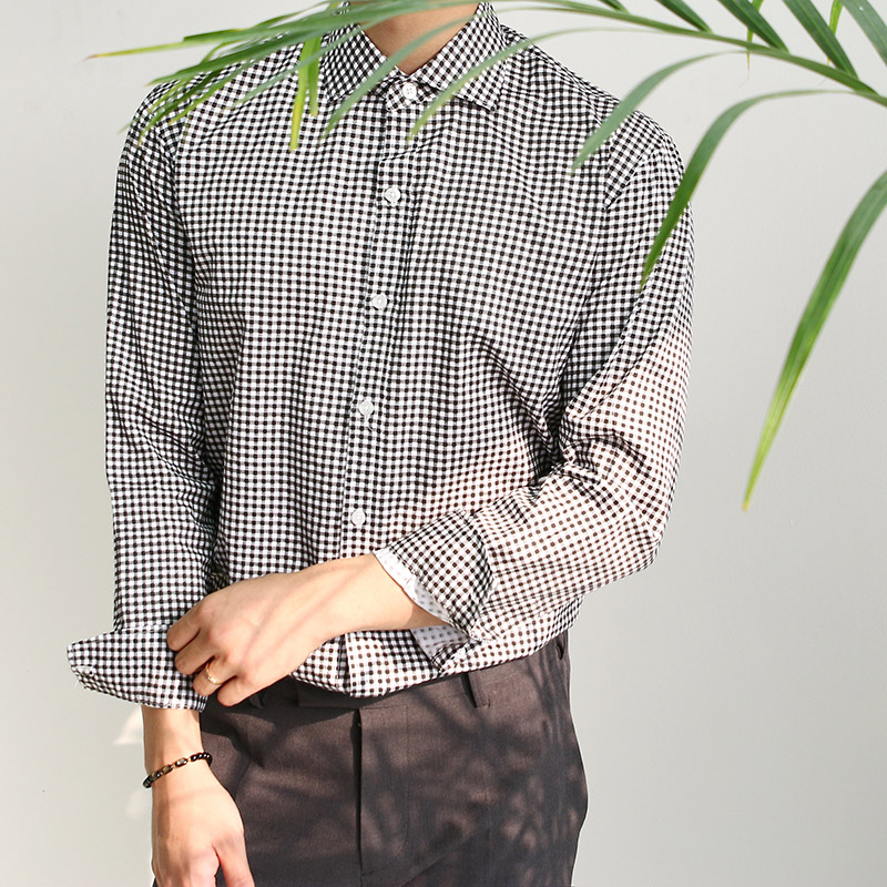 Gingham Check Dress Shirts_T227