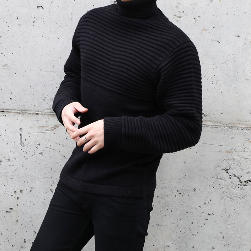 Half Embo AM Turtle Neck Knit_T410 ( 2 Colors )